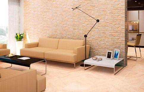 Showroom barral cer mica piedra natural for Panel decorativo madera para pared